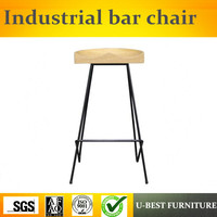 Free shipping U BEST American style iron leg bar chair,retro Industrial solid Wooden stool high stool