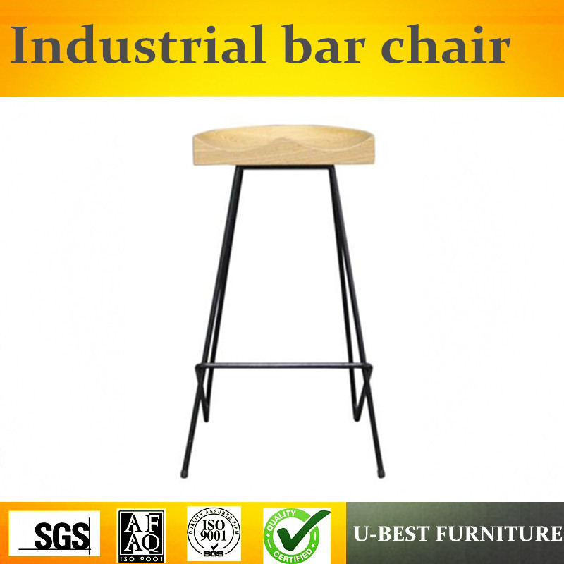 Free Shipping U-BEST American Style Iron Leg Bar Chair,retro Industrial Solid Wooden Stool High Stool