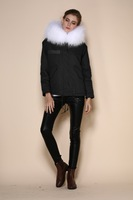 Ladies faux fur black coats with white faux fur lining and real raccoon fur collar hood, Womens bodysuit european winter jacket