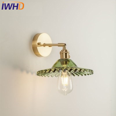 IWHD Copper Nordic LED Wall Lamp Post Modern Wall Lights Vintage Light Glass Fixtures Home Lighting Bedside Sconce Luminaire hl good quality original wireless headset bluetooth headphone headband headset with fm tf led indicators for iphone cell phone