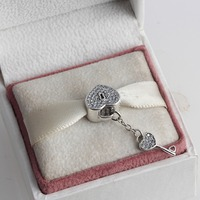 Full Crystal Lock Key Hearts 925 Sterling Silver Charm Beads Fit European Pandora Style Charms Bracelet