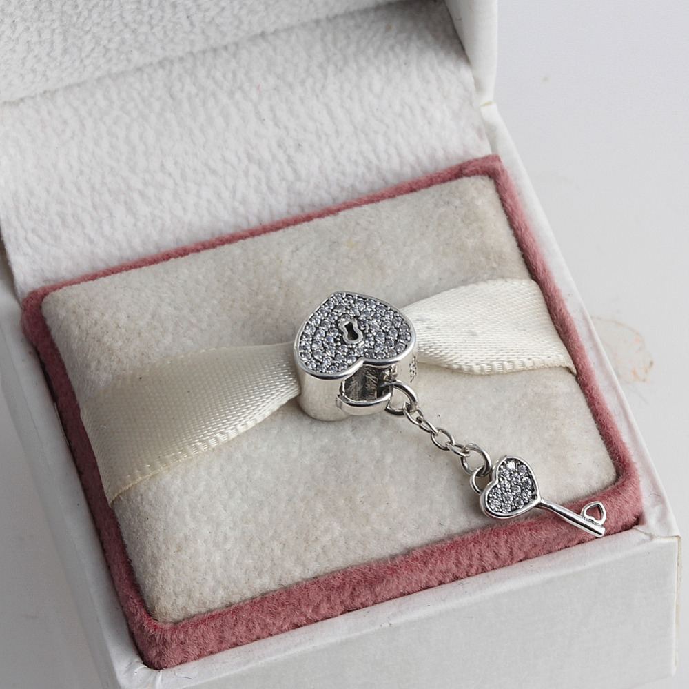 Zmzy Full Crystal Lock Key Hearts 925 Sterling Silver