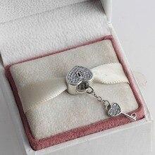 ZMZY Completa Crystal Key Lock Corazón Plata de Ley 925 Granos Del Encanto Europeo apto Estilo Pandora Charms Bracelet