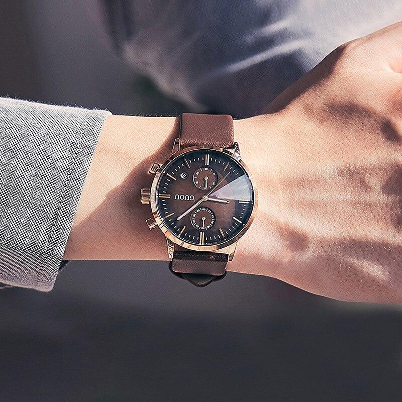 Guou Retro Men Quartz Watch Calendar Japan Waterproof Genuine Leather Fashion Large Dial Wristwatch Top Luxury Brand Gift Man