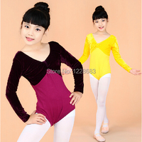 Free Shipping Autumn Winter Velour Velvet Shiny Short Sleeve Kids Leotards Gymnastics Kids Leotardos Dance Ballet