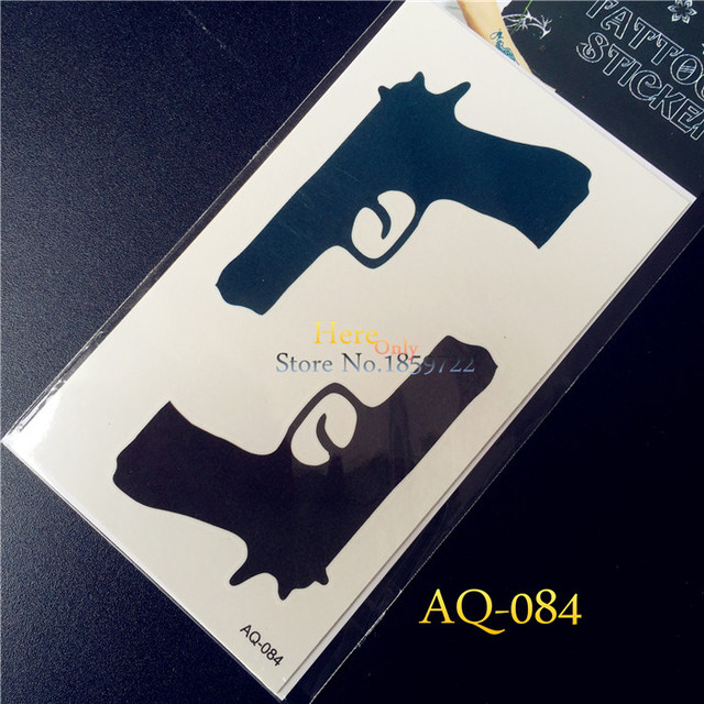 Cool Black Blue Gun Temporary Tattoo HAQ84 Sexy Body Art Supermodel Stencil Design Waterproof Wrist Neck Arm Leg Tattoo Stickers