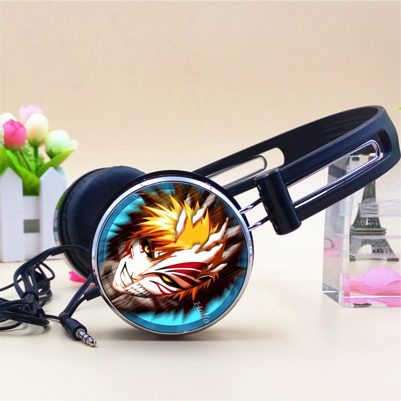 Bleach Kon Kurosaki Ichigo Inoue Orihime Anime Headphone Adjustable Headphones Gaming Headset Stereo Headphones for Phone Mp3 PC