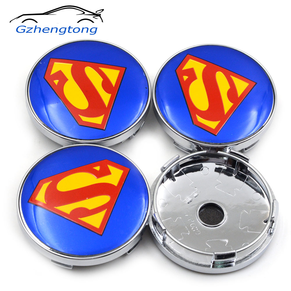 Gzhengtong 60mm 4PC Blue Color Super Man Car Styling Wheel Center Car Hubs Caps Auto Emblem For Octavia Yeti emblem