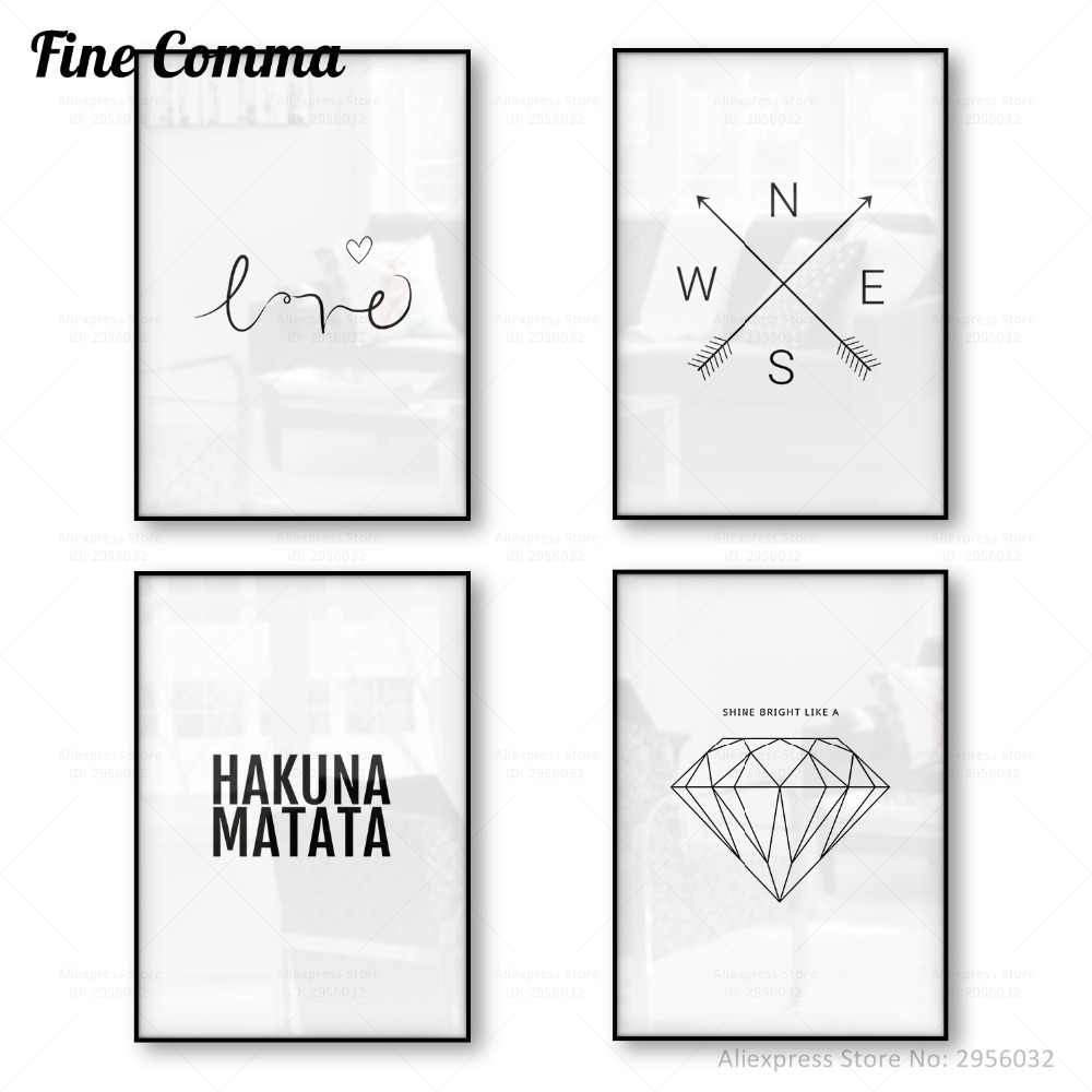 Scandinavian Poster Canvas Print HAKUNA MATATA Wall Art Love Poster Minimalism Geometric Canvas Painting Home Decoration Picture