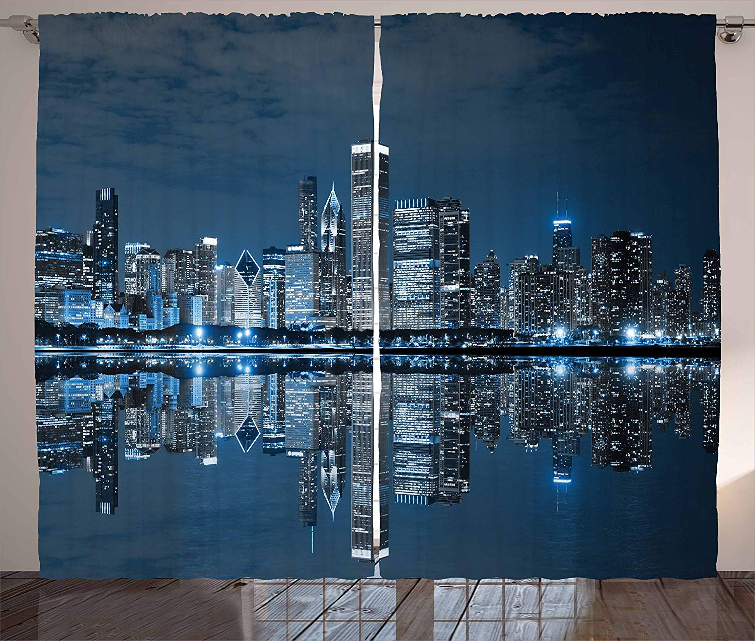 Chicago Skyline Curtains Sleeping City Dramatic Urban Resting Popular American Lake Picture Living Room Bedroom Window Drapes