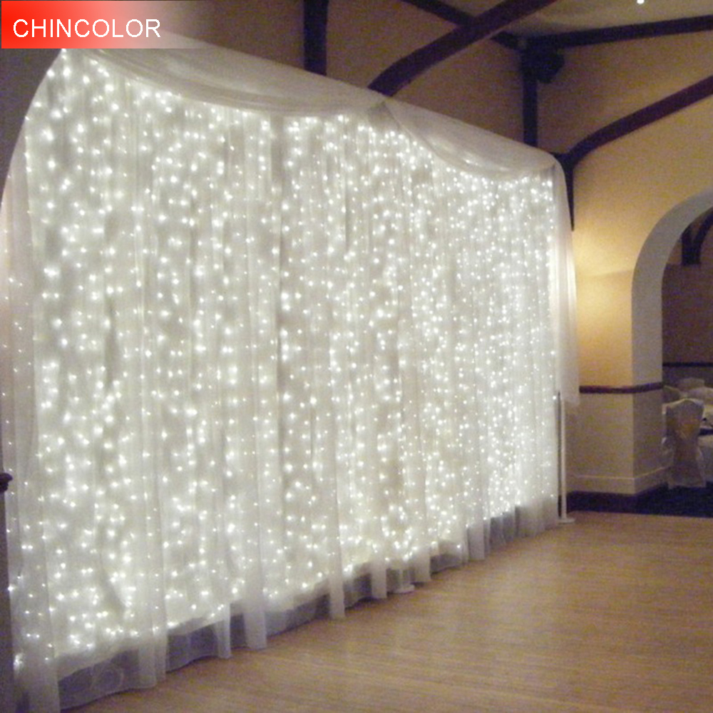 4.5*3Meter 300leds Holiday lights Icicle Curtain LED Light String EU/US New Year Christmas Garlands Fairy Party Wedding Decor DA