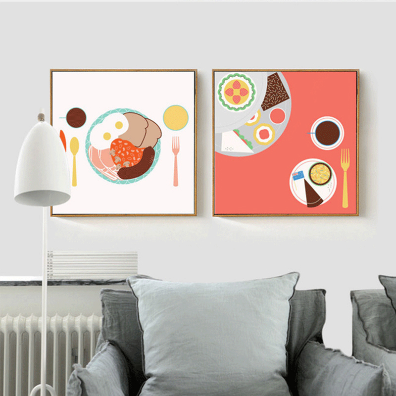 Haochu Warm American Style Breakfast Knife And Forks Dessert Kitchen Wall Decor Canvas Painting Poster Prints For Dinning Room