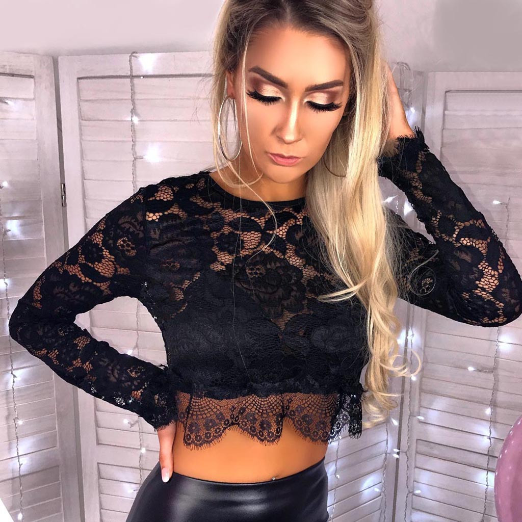 Women   Blouses   Lace Polyester Solid Long Sleeve O Neck   Blouse   Tops Lace   Blouses     Shirts   Chemise Femme#A1