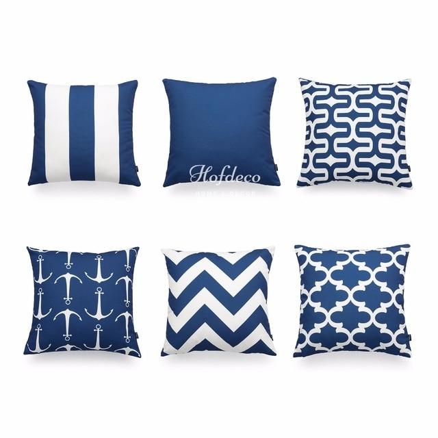 Hofdeco Decorative Throw Pillow Cover Navy Blue Scandinavian Geometric Canvas Cushion Case 45x45cm