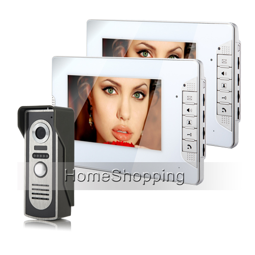 FREE SHIPPING Wired 7 Color Video Door Phone Intercom System 2 White Monitor 1 Night Vision Doorbell Camera In Stock Wholesale 7tft lcd free disturb wired audio video door intercom system with night vision monitor doorbell for 10 apartments of 1 building
