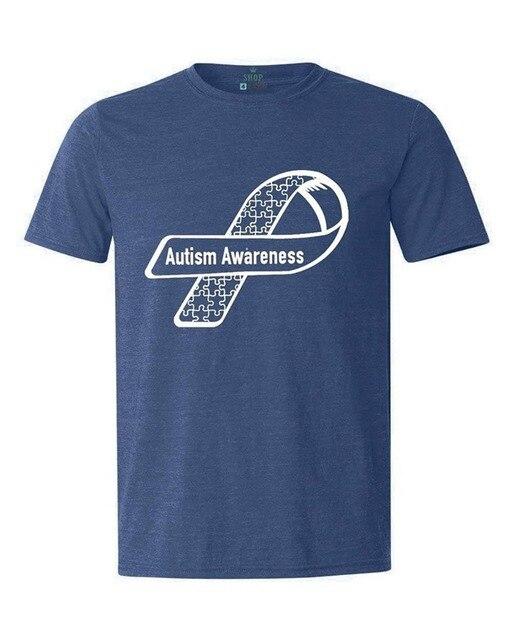 3adfc6b6 Novelty Design Men White Puzzle Ribbon Side T-shirt Autism Awareness Cotton t  shirt slogans