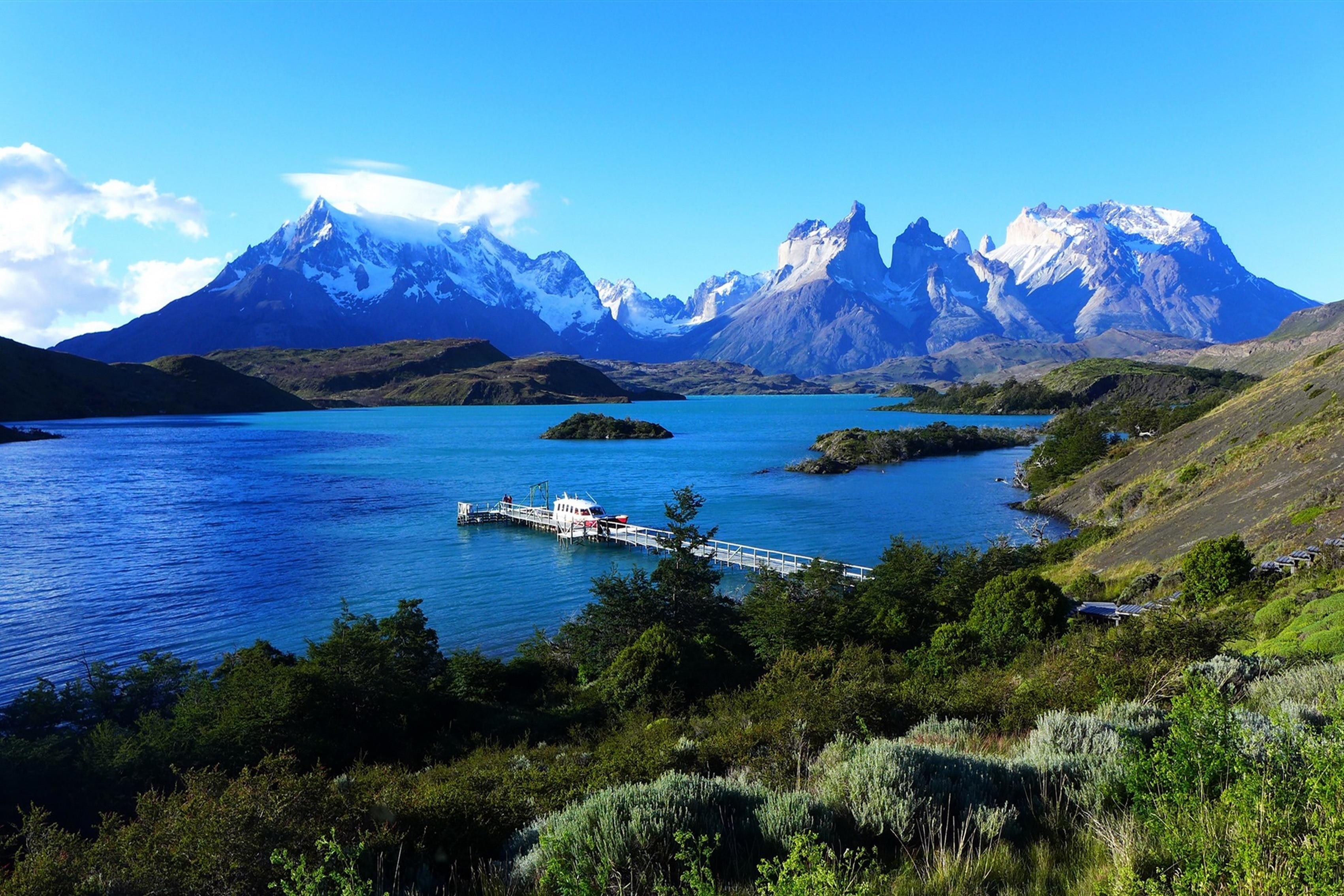 Украшение дома озеро пеоэ Патагонии Чили небо горы Pier шелк Ткань плакат печать 257fj