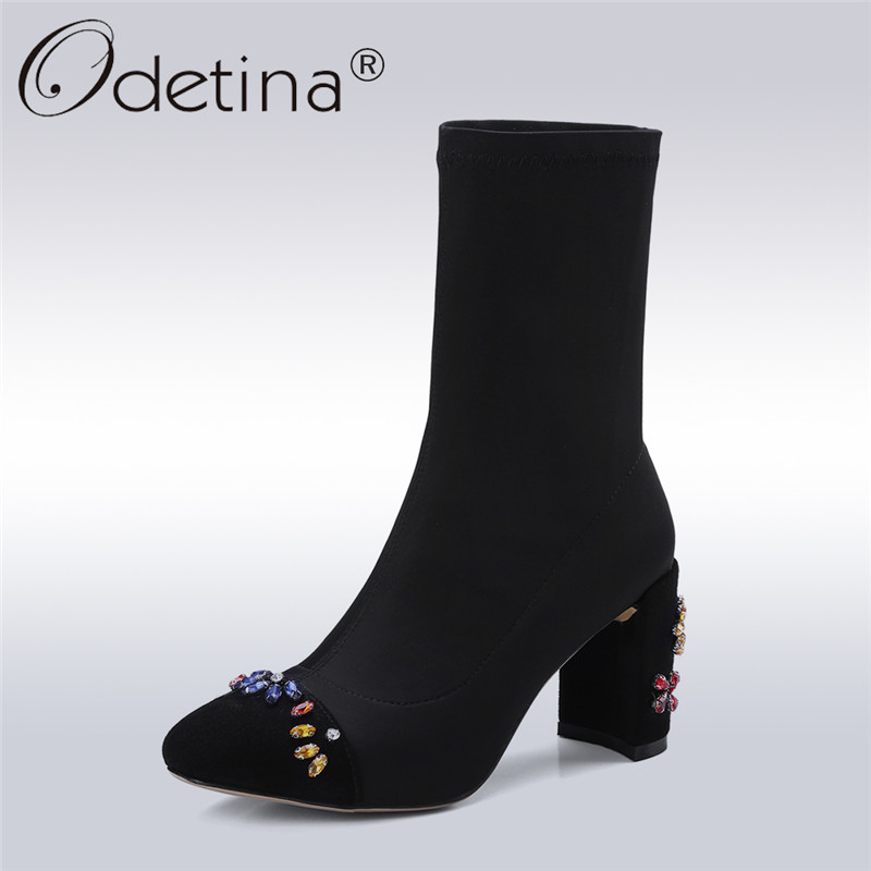 Odetina 2018 New Fashion Genuine Leather Stretch Ankle Booties For Women Pointed Toe Sock Boots High Heel Crystal Flower Shoes fashion kardashian ankle elastic sock boots chunky high heels stretch women autumn sexy booties pointed toe women pumps botas