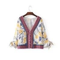 2017 Blusa de Verão Sexy Beachwear Borla Quimono das Mulheres Decote Em V Profundo Top Fruto Impressão Chiffon Kimono Cardigan