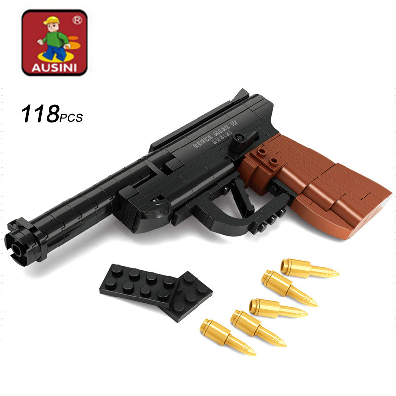 Ausini 118 ədəd Təhsil DIY Assambleyası Oyuncaq Silah Quruluş Blokları Silahlar Silsilə tapança Model Oyuncaqlar Uşaqlar üçün Silah Oyuncaqları