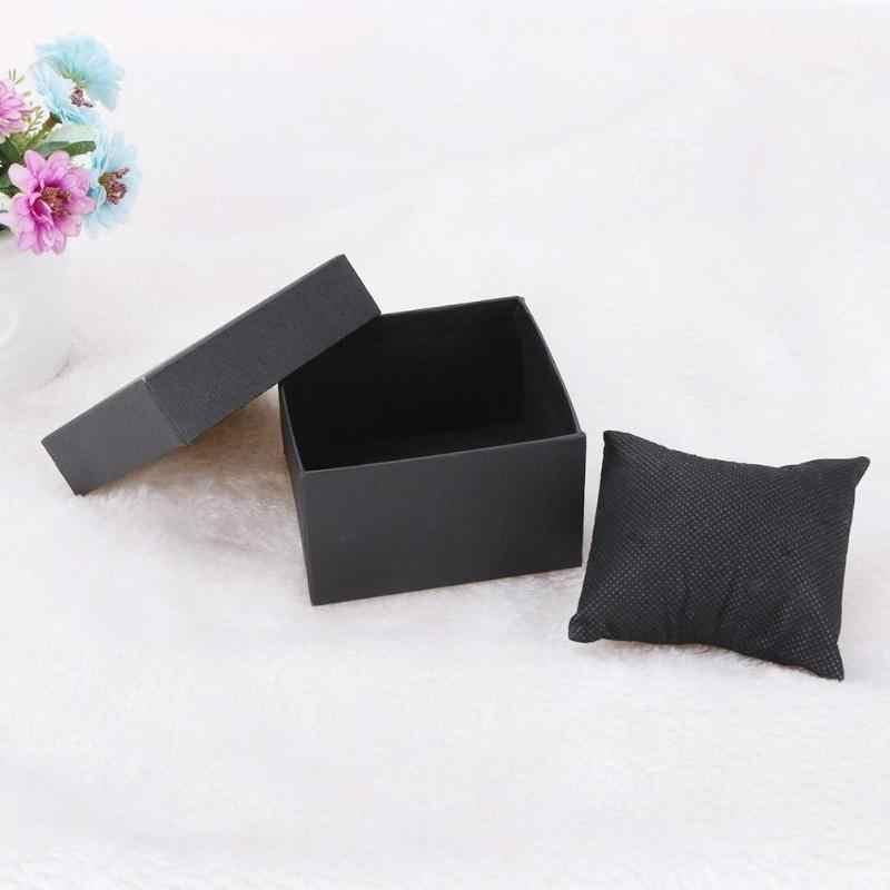 Moda siyah saklama kutusu İzle bayanlar elbise saatler takı yüzük küpe tutucu ekran hediye paketi durumda kadın saat kutuları