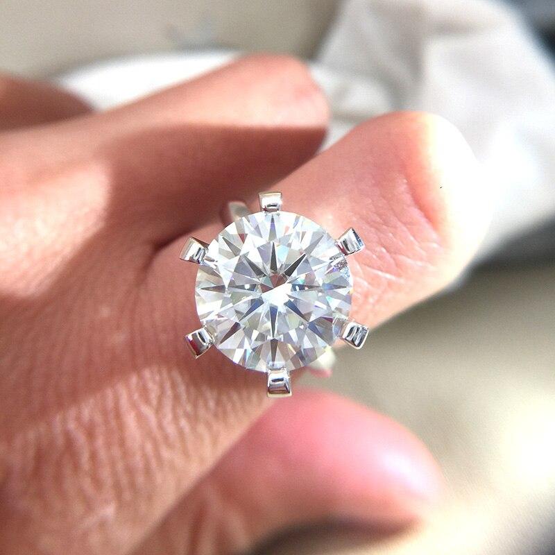 10 carats Rouund brillant DF couleur Moissanite bague solide 14K or blanc 6 broches réglage Solitaire bague de fiançailles pour les femmes