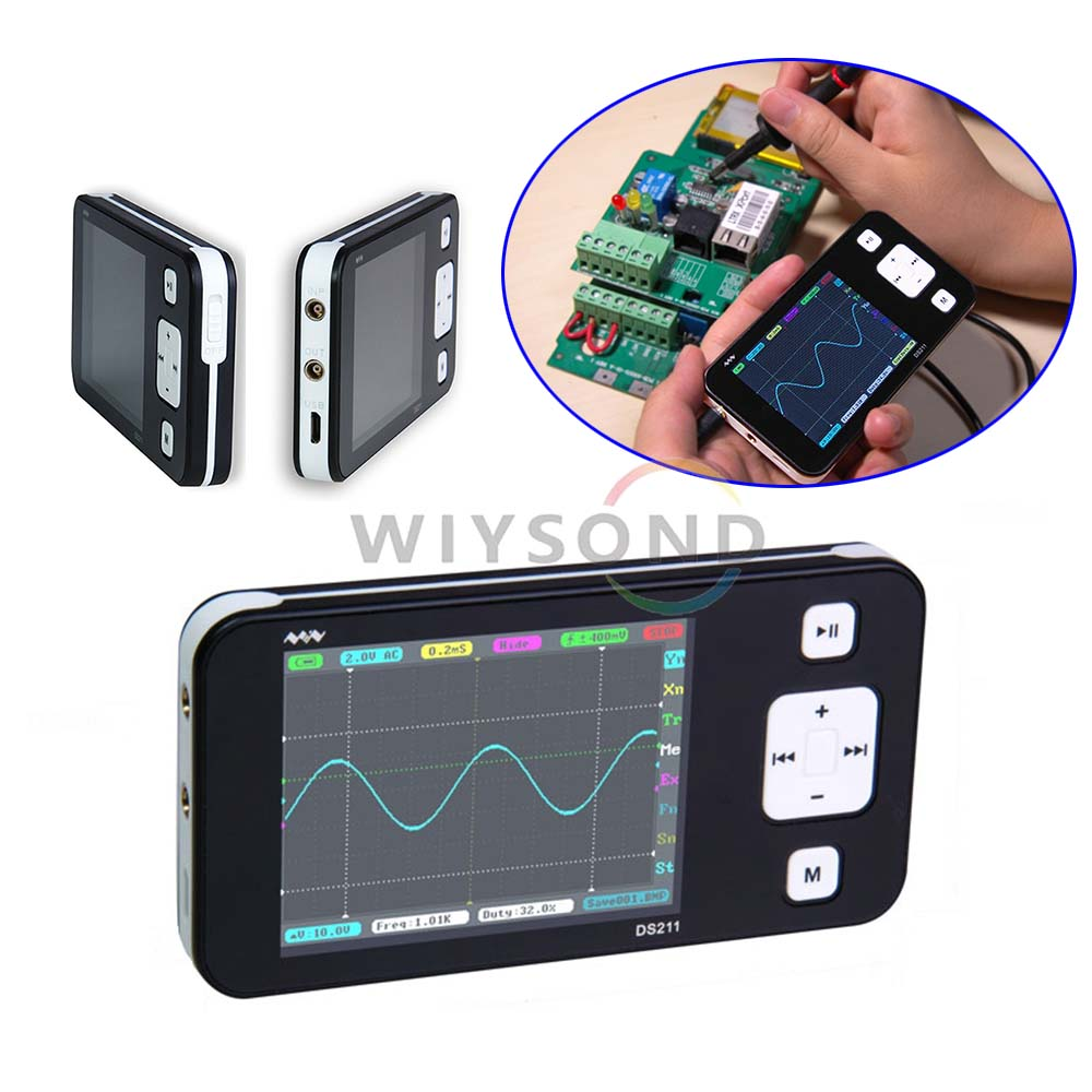 O088 DSO211 DS211 Mini ARM Digital Storage Oscilloscope Portable Pocketsized Nano Handheld 200KHz Bandwidth 1MSa/s dso150 avr core portable 2 1 glcd digital storage oscilloscope green black silver
