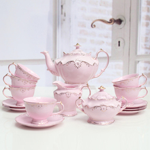 Creative low bone China British afternoon tea set European style coffee cup suit black tea cup exquisite gift box packing