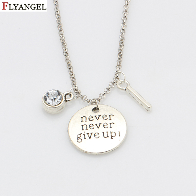 2fc164d6f Personalized Letter Initials Necklace Never Give Up Pendant Motivation  Necklace Alphabet for Women Men Inspiring Gifts