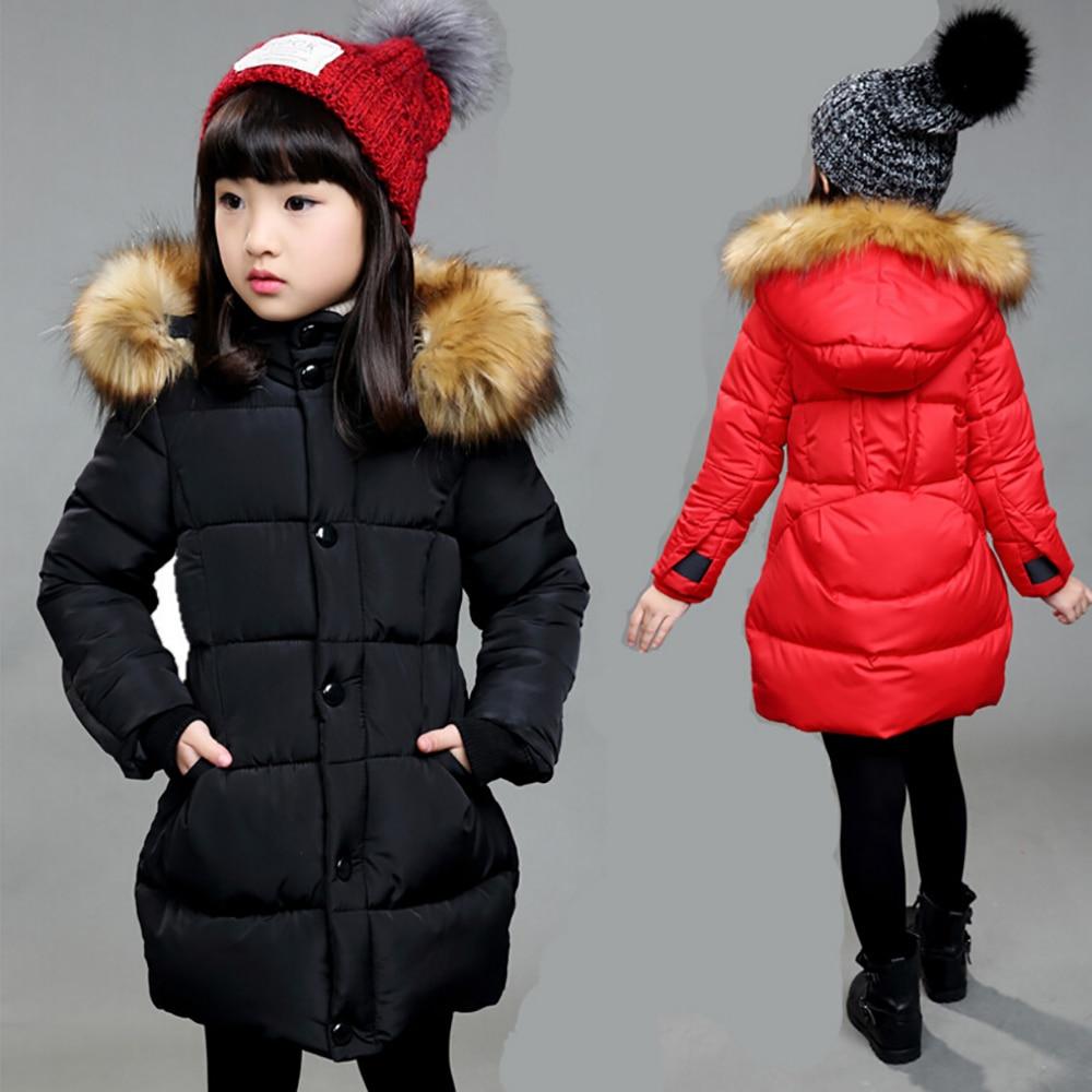 ФОТО 2016  N ew Spring Winter 90% Down Girls Coat Thick Hooded Duck Down Children Solid Jacket Medium-long Kids Little Girls Parkas