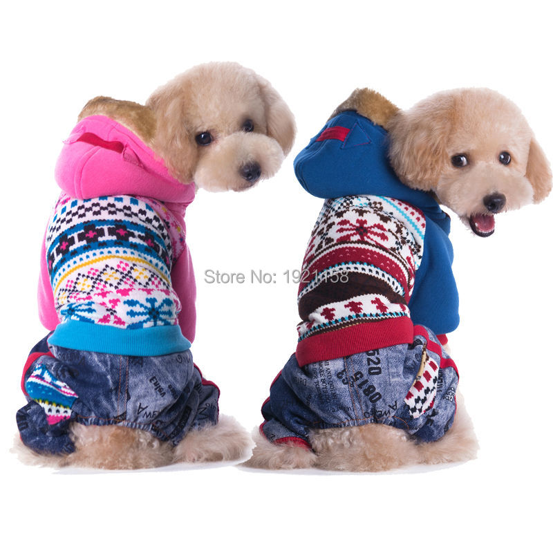 New Warm Pet dog cotton clothes Winter Lovely printing dog coat clothes four legs