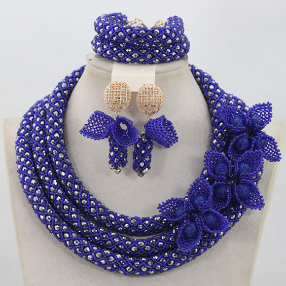 Chunky Nigerian Women Jewelry Sets Luxury Royal Blue African Beads Wedding Crystal Necklace Set Free ShippingABL999 стоимость