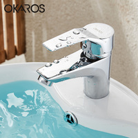 OKAROS Modern Bathroom Basin Solid Silver Sink Faucet Chrome Finished Plated Single Handle Single Hole WaterTap Mixer Torneira