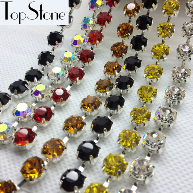High Quality More Colors ss28,ss38,45ss Crystal Rhinestone Round Cup Chain Silver Base For Jewelry, Dress Making