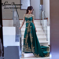 Arabic Kaftan Evening Dresses Vestido De Noiva Emerald Green Long Half Sleeve Gold Appliques Prom Party