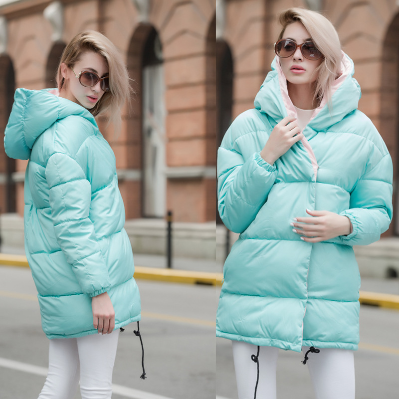 2018 women winter hooded warm Jacket plus size candy color cotton padded jacket female long   parkas   women wadded jaqueta feminina