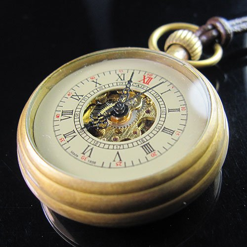Good 100% Brass Antique Small Mechanical Hand Wind Pocket Watch+Leather Chain Freeship