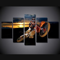 5 Pcs/Set Framed HD Printed Best Action Motocross Sports Wall Art Print Poster Pictures Modern Canvas Painting For Kid Room