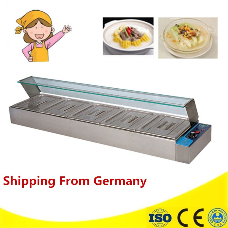 Commercial Stainless Steel 5 Pots Bain Marie Food Warmer Machine High Quality Counter Top Bain Marie fast food leisure fast food equipment stainless steel gas fryer 3l spanish churro maker machine