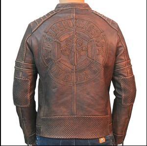 Image 1 - Envío gratis. Chaqueta de piel de motorista de talla grande de marca, 100% chaquetas de piel auténtica para hombre, abrigo de hombre de calidad vintage. Abrigo de cuero con motor