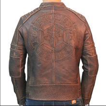 Free shipping.Brand Plus size biker leather jacket,100% genuine leathe