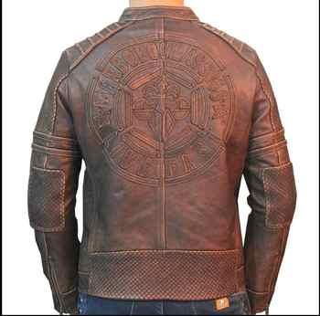 Free shipping.Brand Plus size biker leather jacket,100% genuine leather mens jackets,vintage quality men coat.leather motor coat - DISCOUNT ITEM  6% OFF All Category