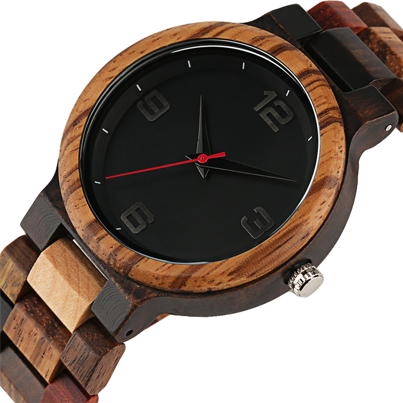Unique Mixed Color Watch Men Clock Man Retro Full Wooden Band Quartz Wrist Watch Top Luxury Round Analog Watches Reloj de madera цена