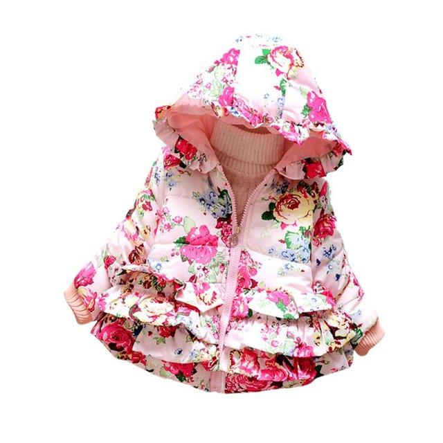 Novo Bebê Crianças Meninas Com Capuz Moletom Com Capuz Para Baixo do Revestimento do Revestimento de Inverno Floral Impresso Outwear L08