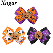 4.5 Halloween Hairbows for Girls Handmade Pumpkin Printed Ribbon Bows Hair Clip Hairgrip Dance Party Kids Hair Accessories dreiser t the stoic стоик роман на англ яз