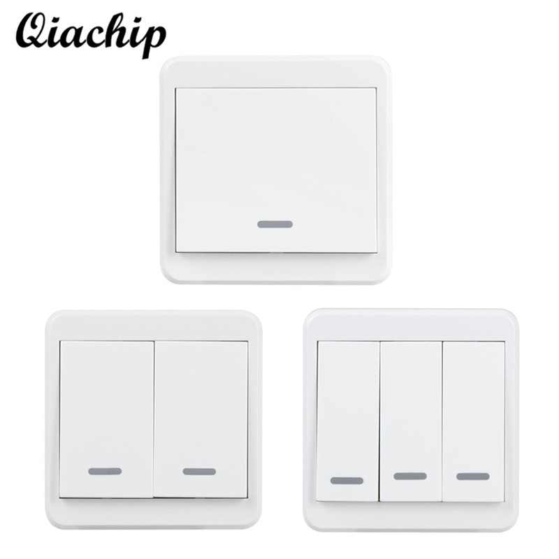 QIACHIP UK Plug WiFi Smart 1 2 3 Gang Light Wall Panel Switch APP Control Work with Amazon Alexa Google Home Push Button Switch qiachip wifi smart home switch 3 gang waterproof touch panel app remote control amazon alexa google home for ios android ds25