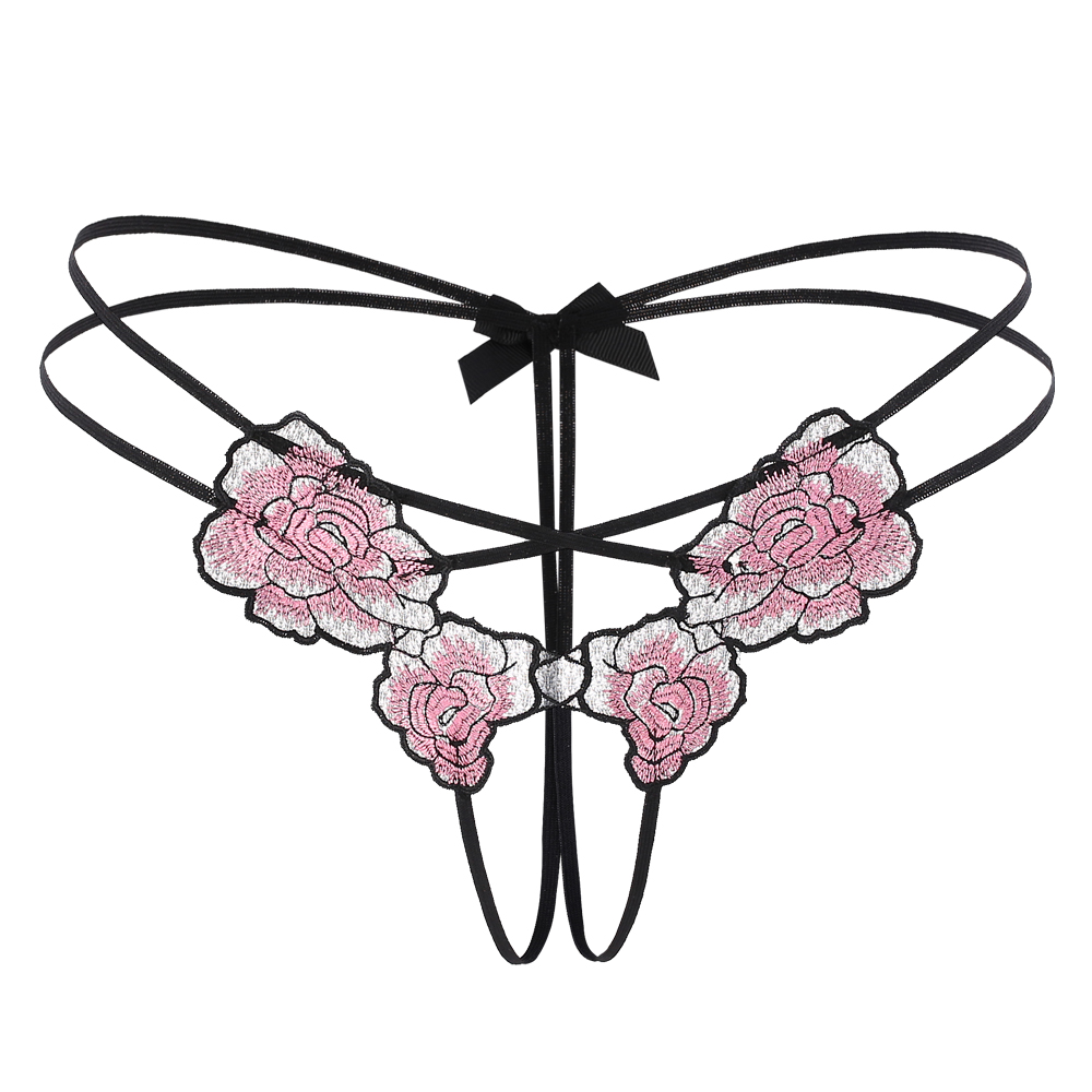 Sexy Women Thongs Hot Open Crotch Panties Lace Underwear Crotchless rose Embroidery G String hot erotic sex Knickers