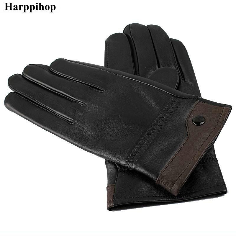 2018 Male Sheepskin Genuine Leather Gloves All-match Thermal Sheepskin Gloves