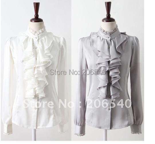 5690e1e85a0b5 New Women s Clothes WHITE or GRAY Ruffle Front Lace Collar Top Shirt Blouse