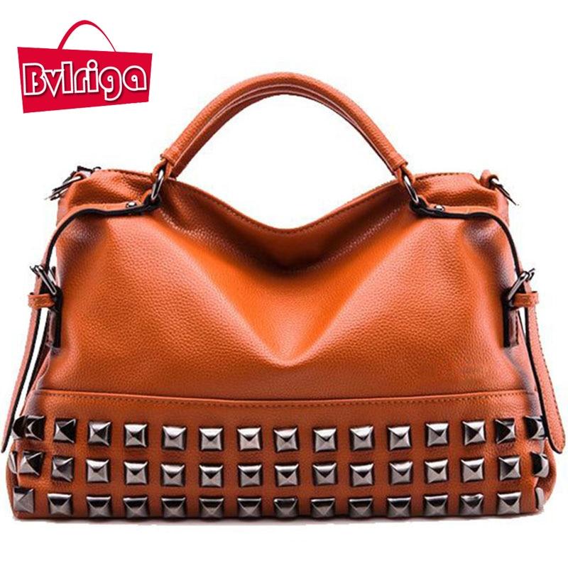 ФОТО BVLRIGA Women bag Women messenger bags handbags women famous brands Big Vintage Ladies shoulder bag Rivet Fashion Bolsa feminina